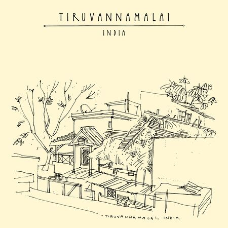 Tiruvannamalai (Tiru), Tamil Nadu, South India. Street, houses and trees. Travel sketch drawing. Vintage hand drawn postcard Ilustracja