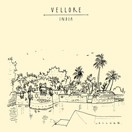 Vellore, Tamil Nadu, South India. 16th-century Vellore fort. Travel sketch drawing. Vintage hand drawn postcard, poster