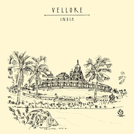 Vellore, Tamil Nadu, South India. Hindu Sri Lakshmi Narayani Temple. Golden Temple Vellore complex in Sripuram spiritual park. Beautiful garden. Travel sketch. Vintage hand drawn postcard