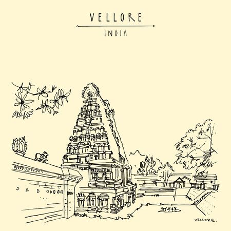 Vellore, Tamil Nadu, South India. Ancient Jalagandeswarar Hindu temple in Vellore fort. Entrance gopuram (tower) Travel sketch drawing. Vintage hand drawn postcard, poster