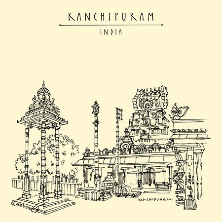 Kanchipuram (Kanchi), Tamil Nadu, South India. Varadaraja Perumal Temple (Hastagiri, Attiyuran). Hindu religion sacred place. Travel sketch drawing. Vintage hand drawn touristic postcard, poster