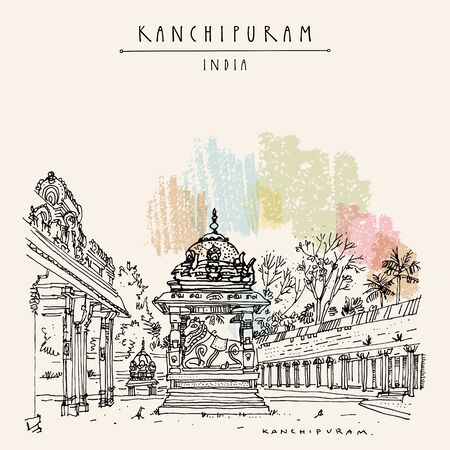 Kanchipuram (Kanchi), Tamil Nadu, South India. Ekambeshwarar (Ekambaranatha) Temple. Hindu religion sacred place. Travel sketch drawing. Vintage hand drawn touristic postcard, poster Ilustracja