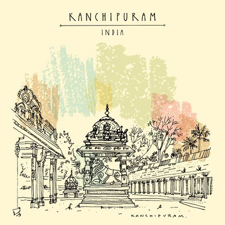 Kanchipuram (Kanchi), Tamil Nadu, South India. Ekambeshwarar (Ekambaranatha) Temple. Hindu religion sacred place. Travel sketch drawing. Vintage hand drawn touristic postcard, poster 向量圖像