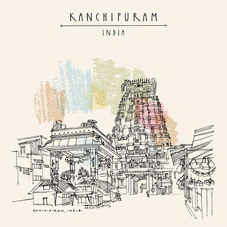 Kanchipuram (Kanchi), Tamil Nadu, South India. Market at Ekambeshwarar (Ekambaranatha) Temple. Hindu religion sacred place. Travel sketch drawing. Vintage hand drawn touristic postcard, poster