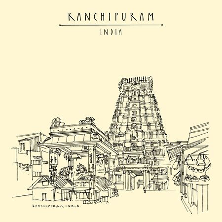 Kanchipuram (Kanchi), Tamil Nadu, South India. Market at Ekambeshwarar (Ekambaranatha) Temple. Hindu religion sacred place. Travel sketch drawing. Vintage hand drawn touristic postcard, poster