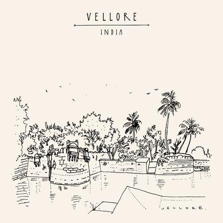 Vellore, Tamil Nadu, Inde du Sud. Fort de Vellore du XVIe siècle. Dessin de croquis de voyage. Carte postale vintage dessinée à la main, affiche