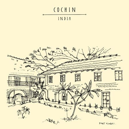 Cochin (Kochi), Kerala, India. Old architecture. Heritage colonial buildings and tropical plants in the garden. Famous historical landmark in summer. Artistic vintage hand drawn travel postcard, poster