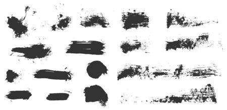 Grungy vector ink brush strokes set