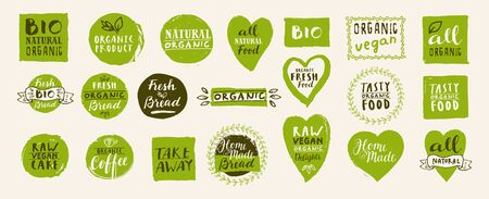 Set of take away bio, vegan, organic, fresh, raw, tasty natural food labels. Hand drawn home delivery templates