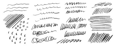 Vector hand drawn messy scribbles set for your design. Black ink pen grungy texture elements isolated on white background
