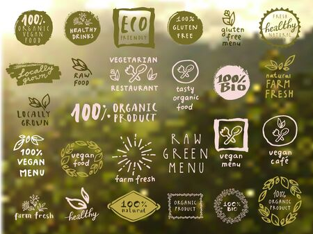 Organic food labels set. Vector fresh healthy food icons. Vintage badges for restaurant menu or food package