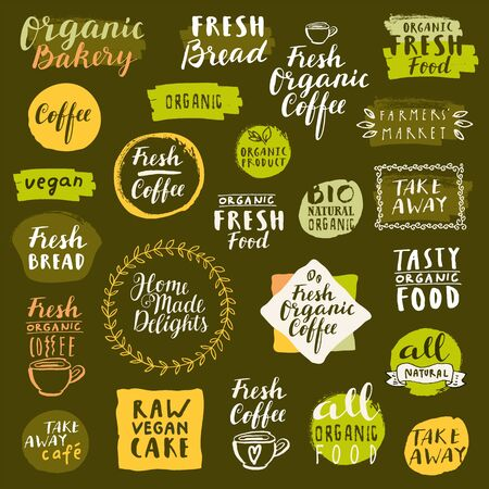 Bio organic labels set. Fresh Bread Bakery. Fresh coffee emblems. Food and drinks for healthy life on quarantine. Fresh organic take away labels collection. Logo templates. Calligraphic badges. Vector