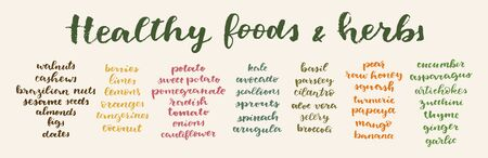 Healthy Foods and Herbs calligrafic set. Vector hand lettered healthy nutrition ingredient list. Healing diet plan example. Natural anti-inflammation foods lettering. Organic restaurant menu template