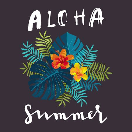 Aloha Summer bouquet, monstera leaves, hibiscus flowers, lettering. Bright jungle composition. Vivid optimistic juicy colors. Exotic tropical floral calligraphy backdrop. Botanical background