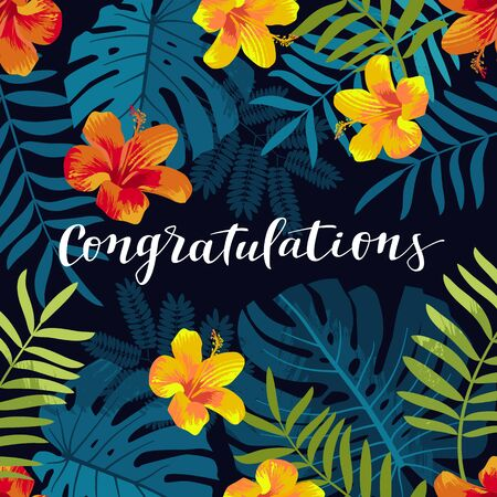 Congratulations greeting card. Tropical Summer seamless pattern with monstera leaves and hibiscus flowers. Bright jungle background. Vivid juicy colors. Hawaiian graduate party backdrop Ilustracja