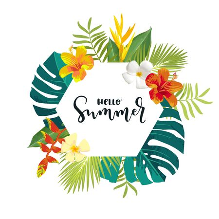 Hello Summer calligraphy card. Summertime banner, poster with exotic tropical leaves, flowers. Hexagon frame bright jungle background. Vivid bright colors. Hawaii beach party backdrop template Ilustracja