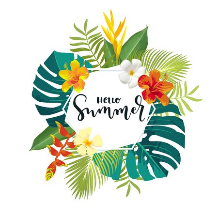 Hello Summer calligraphy card. Summertime banner, poster with exotic tropical leaves, flowers. Hexagon frame bright jungle background. Vivid bright colors. Hawaiian beach party flyer template