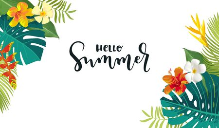Hello Summer calligraphy card. Horizontal summertime banner, poster with exotic tropical leaves, flowers. Bright jungle background. Vivid colors. Hawaiian beach party backdrop Ilustracja