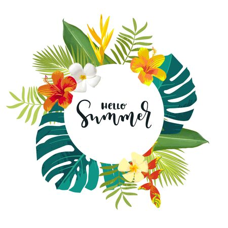Hello Summer calligraphy card. Summertime banner, poster with exotic tropical leaves, flowers. Monstera, frangipani. Bright jungle background. Round frame. Hawaiian beach party backdrop
