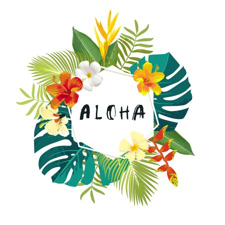 Aloha summer calligraphy card. Summertime banner, poster with exotic tropical leaves, flowers. Hexagon frame bright jungle background. Vivid bright colors. Hawaiian beach party flyer template