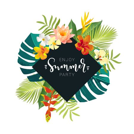 Enjoy Summer Beach Party calligraphy card. Summertime postcard with exotic tropical leaves, flowers. Square frame jungle background. Bright colors. Hawaiian boho style