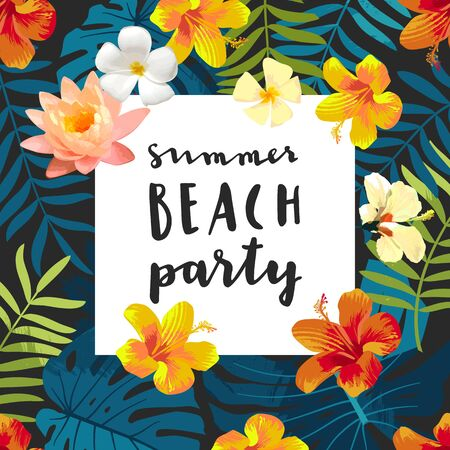 Summer Beach Party calligraphy card. Summertime postcard with exotic tropical leaves, flowers. Square frame jungle background. Bright colors. Hawaiian beach style template