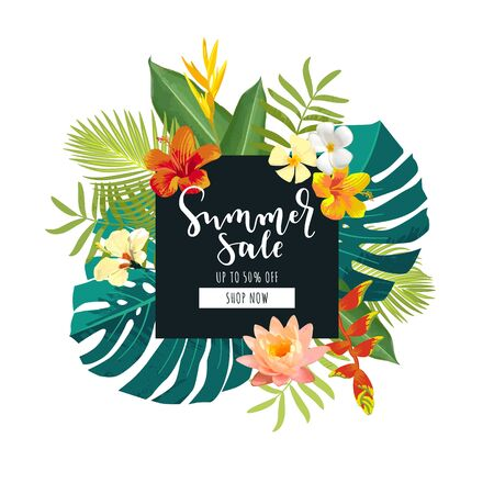 Summer Sale calligraphy card. Summertime postcard with exotic tropical leaves, flowers. Hexagon frame jungle background. Bright colors. Hawaiian beach style promotion template