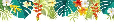 Bordure de feuilles et de fleurs tropicales. Décoration florale d'été. Bannière d'été horizontale. Fond de jungle lumineuse. Couleurs vives. Toile de fond de fête de plage des Caraïbes