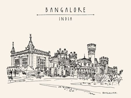 Bangalore (Bengaluru), Karnataka, India. Beautiful Bangalore palace. Travel sketch. Vintage hand drawn postcard template. Vector illustration Ilustracja
