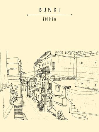 Bundi, Rajasthan, India. Street in old town. Artistic drawing. Indian travel postcard or poster  with hand lettering Illustration