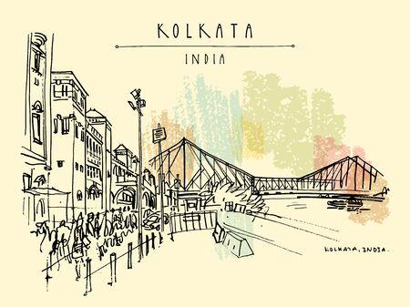 Kolkata, India. The British-era Howrah Junction Railway Station and Howrah Bridge across Hooghly (Hugli, Hoogli) River. Heritage colonial architecture. Famous historical landmarks. Vector hand drawn travel postcard