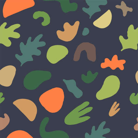Seamless pattern with fluid organic shapes in muted colors. Vector EPS10 illustration