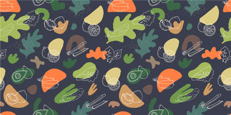 Seamless pattern with fluid organic shapes and hand drawn vegetables on dark background. Organic food restaurant design template. Healthy lifestyle wallpaper design. EPS10 vector illustration