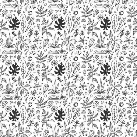 Hand drawn black and white artistic doodle seamless pattern with fluid organic shapes. Black isolated artistic graphic elements on white background. Natural backdrop. Vector eps10 cartoon illustration