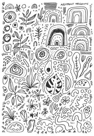 Hand drawn doodle pattern with fluid organic shapes. Black isolated graphic elements on white background. Cover template. Vector eps 10 illustration