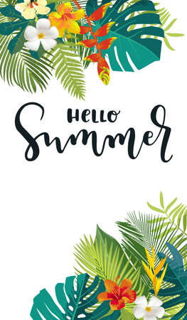 Hello Summer calligraphy card. Vertical summertime banner, poster with exotic tropical leaves, flowers. Bright jungle background. Vivid colors. Hawaiian beach party backdrop