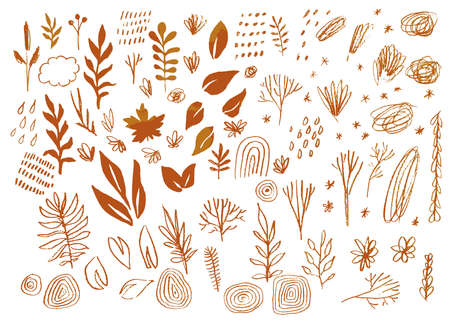 Autumn design elements sketch set. Trees, leaves, rainbow, cloud, rain. Burnt orange colors. Hand drawn organic shapes. Isolated graphic elements. Vector eps 10 illustration