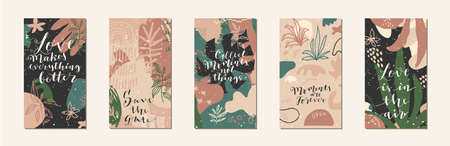 Love quotes. Edtable artistic templates for social media marketing, phone screen proportions. Fluid organic shapes in muted earthy matte colors. Hand drawn elements. Vector EPS10 illustration