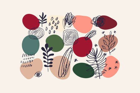 Abstract design elements sketch set. Hand drawn trees, leaves, rainbow, cloud, rain. Trendy muted colors. Liquid organic shapes. Isolated graphic elements. Vector eps 10 illustration