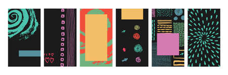 Set of artistic templates for social media marketing, phone screen proportions. Colorful grungy textures on black background. Hand drawn elements. Ilustração