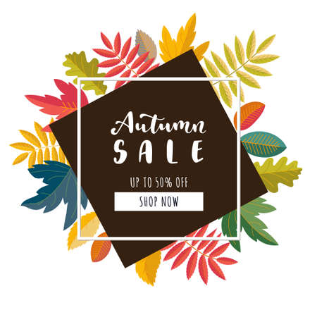 Autumn Sale promotion banner. Up to 50 percent discount offer. Bright warm colors design. Colorful fall leaves. Vivid optimistic juicy colors. Bouncy lettering. Vector illustration Ilustração