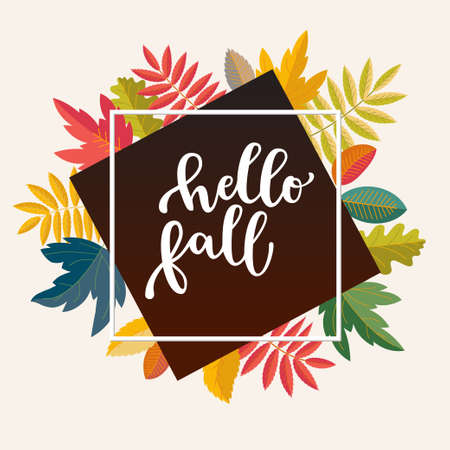Hello Fall promotion banner for social media marketing, store promotion, stories template. Bright warm colors design. Colorful fall leaves. Vivid optimistic juicy colors. Bouncy lettering. Vector