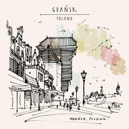 Vector Gdansk postcard. Old historical hanseatic city of Gdans, Poland, Europe. Famous Zurav Crane in the old center. Street in historic old town. Vintage travel hand drawn postcard Ilustración de vector