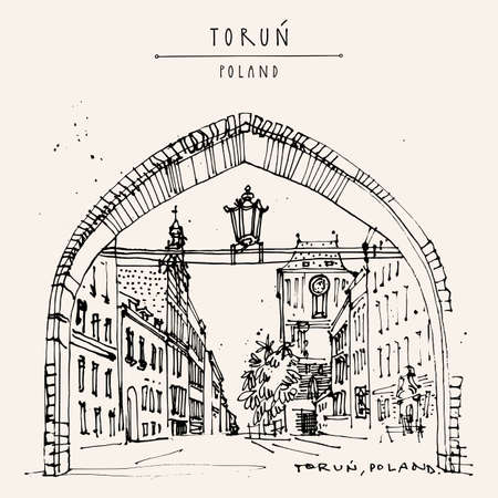 Vector Torun postcard. Old historical center of Torun, Poland, Eastern Europe. Arch and street in historic old town. Vintage travel hand drawn postcard