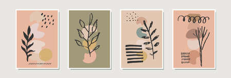 Abstract contemporary artistic cards, posters, prints. Home decoration, framed wall art with hand drawn trees in neutral terracota colors. Organic natural shapes. Vector EPS10 modern illustration Ilustração