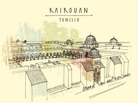 Kairouan, Tunisia hand drawn postcard. Mosque in Kairouan, Tunisia, North Africa. Authentic Arabic exterior. Trave sketch. Touristic poster, postcard or book illustration. EPS10 vector illustration
