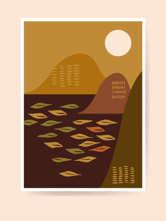 Mid century boho style home decor. Modern Japanese abstract landscape. Contemporary artistic minimalist print. Nursery decoration, wall art. Neutral terracotta colors, earth tones. Vector illustration Ilustração