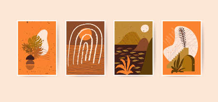 Mid century boho style home decor. Modern abstract landscapes. Contemporary artistic minimalist prints. Nursery home decoration, wall art in neutral orange and terracotta colors, earth tones. Vector