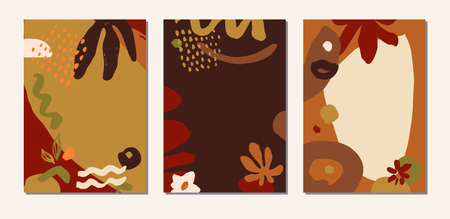 Organic collage hand drawn earthy terracotta colors abstract botanical covers, cards, artistic social media templates. Creative universal natural herbal healthy backdrops. EPS 10 vector illustration Ilustração