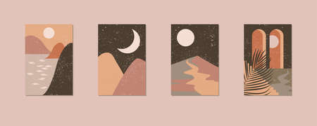 Minimalist wall art. Abstract landscapes for boho esthetic interior. Home decor wall prints. Soft pink, terracotta colors with mustard hues. Sun and moon.